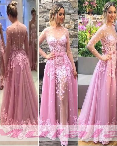 7b26c4eb Pink Lace Appliques 3 D Flowers Prom Dresses 2018,Long Sleeves Prom ...