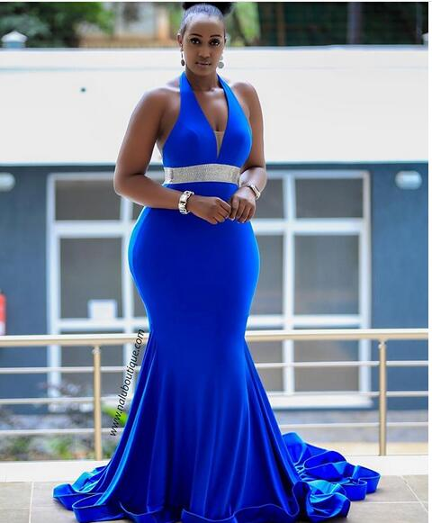 Plus Size Royal Blue Mermaid Prom Dresses Backless African Girl Black Girl  Feathers Evening Formal Gowns from Wedding store