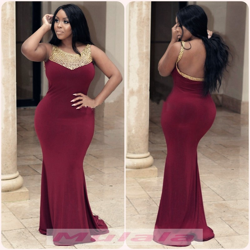 2018 Burgundy Spandex Plus Size Prom Dresses Gold Crystal Beaded Black Girl  Evening Dress Backless Mermaid Party Gowns