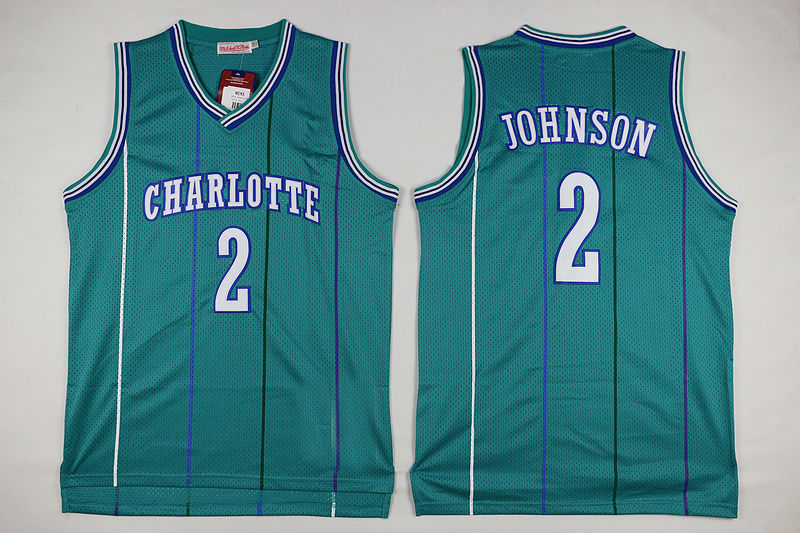 536777ad1 Mens Charlotte Hornets #2 Larry Johnson Retro Hardwood Classics Swingman  Jersey