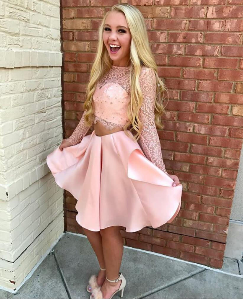 fd6151dd5e7 A Line Two Piece Pink Short Formal Prom Dress with Long Sleeves,Long Sleeve  Short