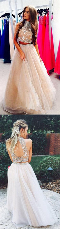 6a0476d565d3 2017 New Style Prom Dresses Sexy 2 Piece silver beaded bodice High Neck  Tulle Skirts Champagne