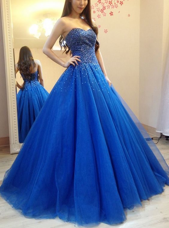 a8a175609a2 Elegant Tulle Royal Blue Ball Gown Prom Dress