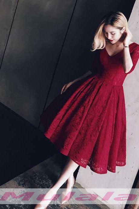 Burgundy Lace Ball Gown Prom Dresses 2018 Half Sleeves V Neck Party Gowns Knee Length Prom Dresses Short Homecoming Dresses Promyan