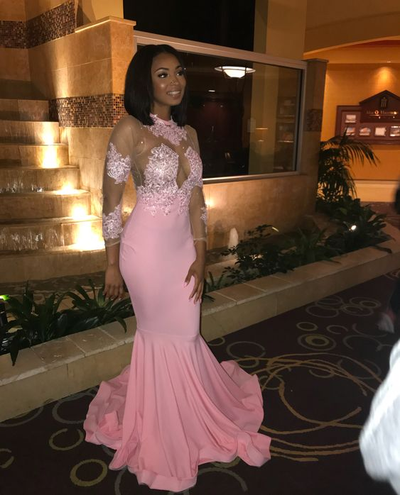 383e1f411e Pink Mermaid Satin Prom Dresses Crew Neck Long Sleeve Lace Appliques  African Girl Black Girl Evening