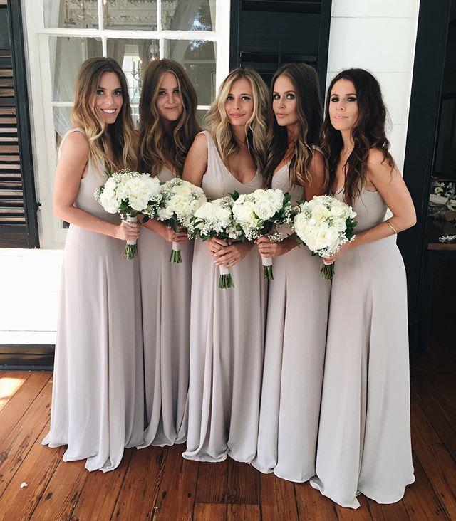 Long V Back Chiffon Bridesmaid Dress Dress For Wedding Sleeveless