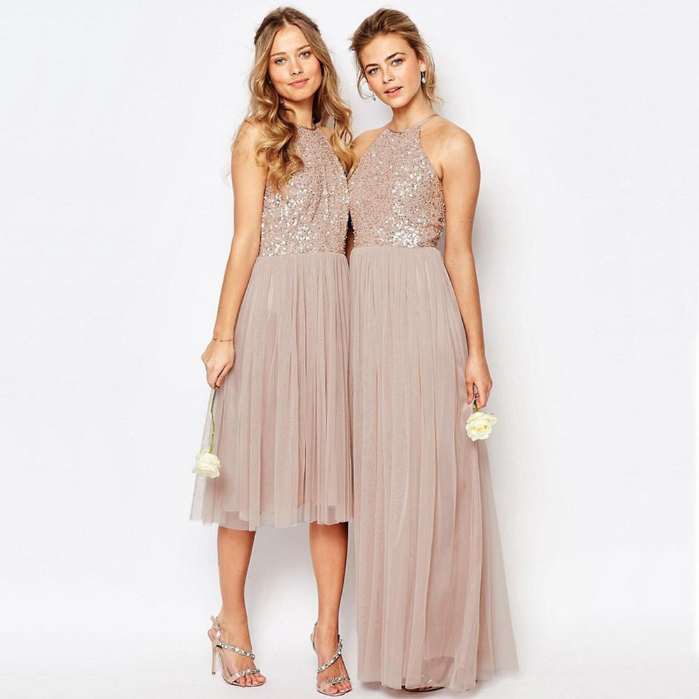 f65c28ae926 Champagne Cheap Halter Beaded Sequin Tulle Bridesmaid Dresses