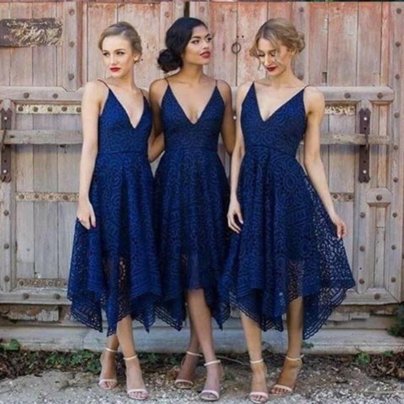 e8623a924d Navy V Neck Cheap Short Lace Bridesmaid Dresses Online, WG212 on Storenvy