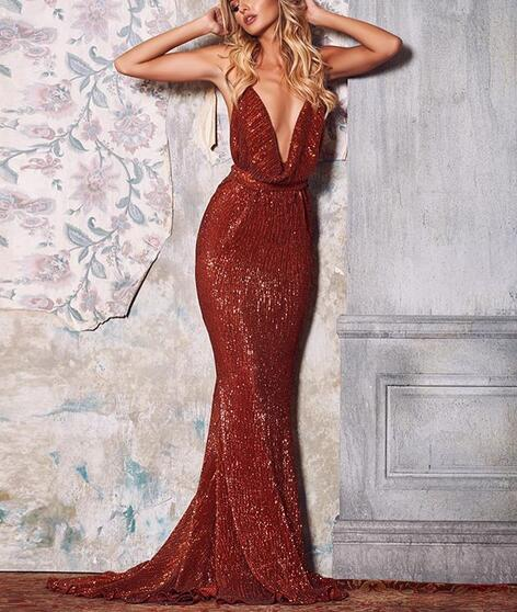 418e00c06d0 Wine Red Mermaid Prom Dresses Sexy Halter Sleeveless Sequins Lace Evening  Formal Gowns