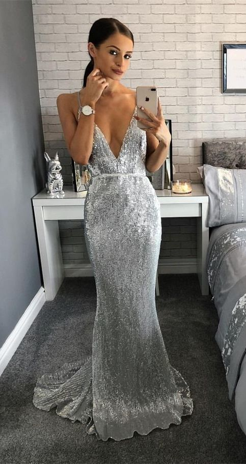 Silver Sequined Party Dress Mermaid Prom Dress Sexy Deep