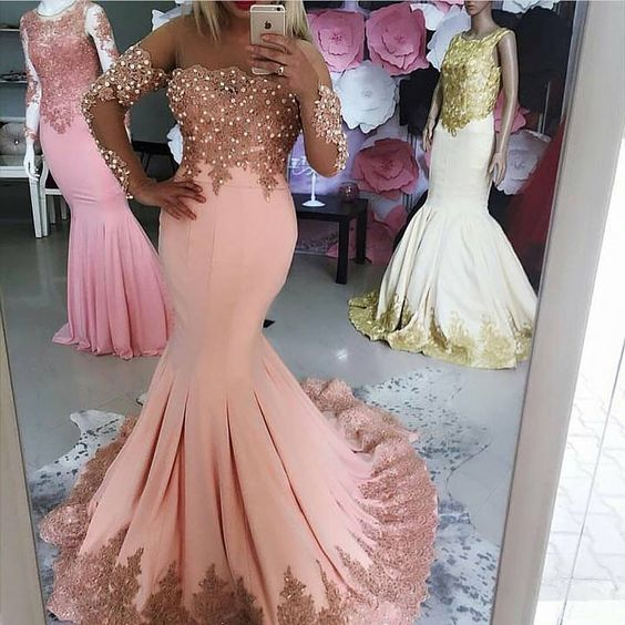 e530a0121f Gorgeous Pink Mermaid Prom Dress Long Sleeve Lace Appliques Beaded Formal  Women Evening Dresses Sweep Train Party Gowns from YooYooDress