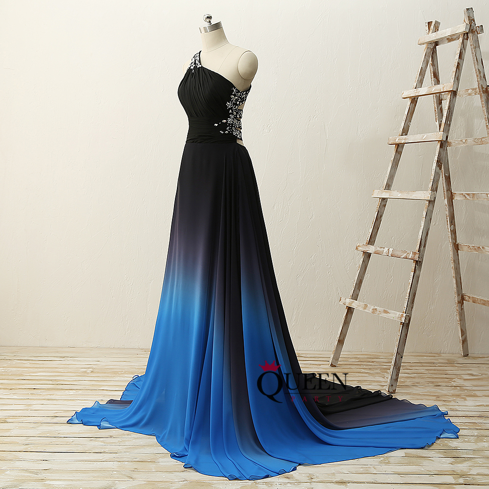 45a4d3f4254 One Shoulder Pleats Beaded Black-Blue Gradient Ombre Chiffon Long Evening  Dress With Open Back ...