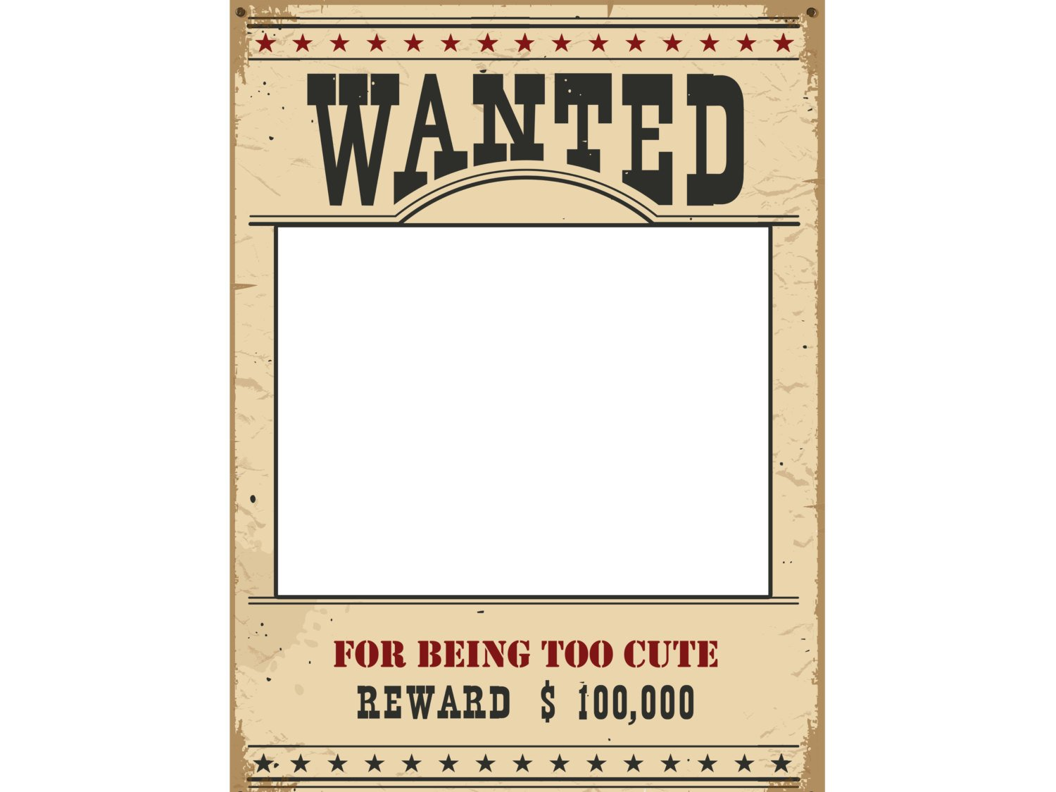 Large Personalized Social Wanted Poster Photo Booth Prop