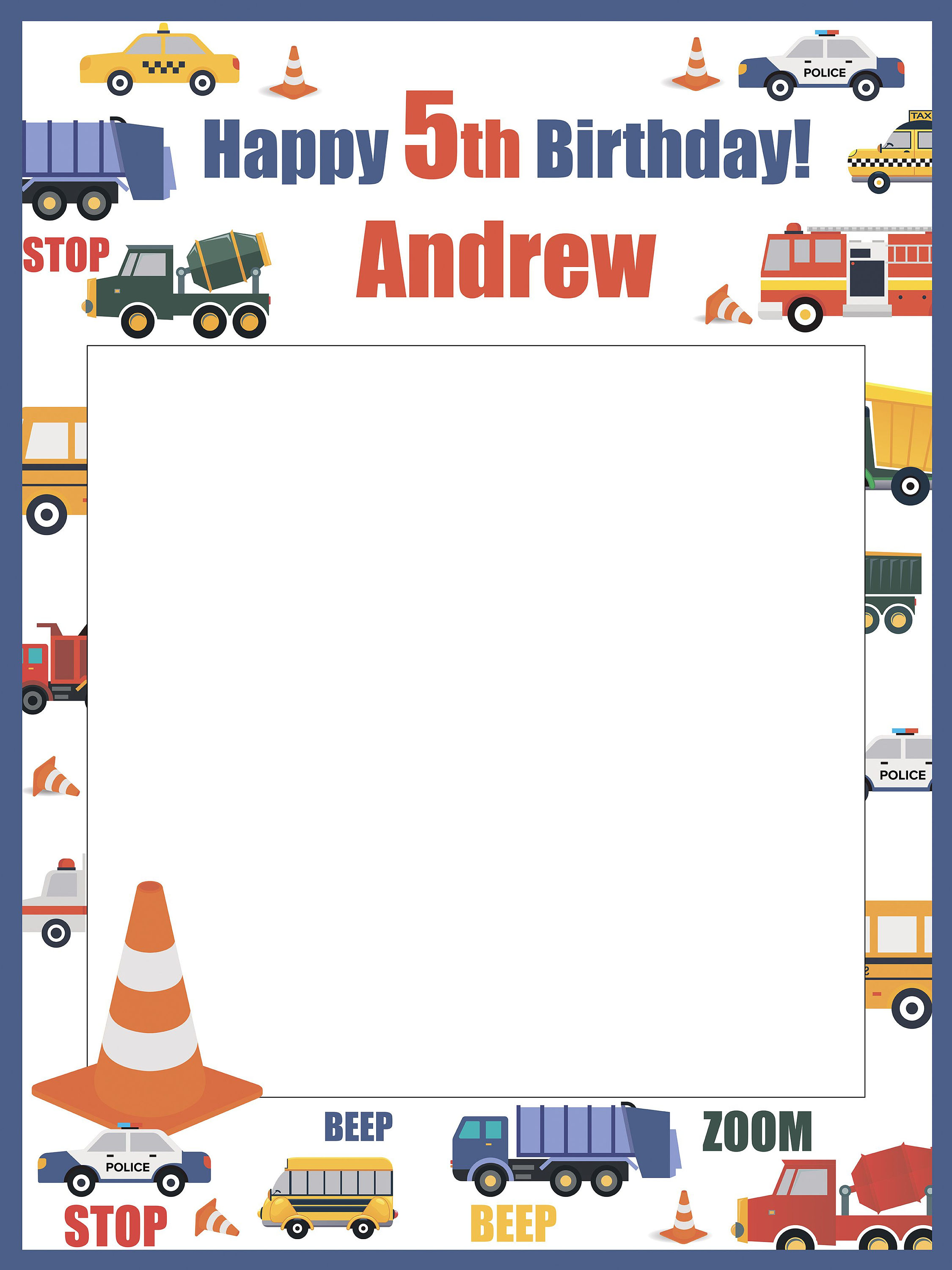 Large Custom Traffic Jam Birthday Photo Booth Prop Frame Cars And