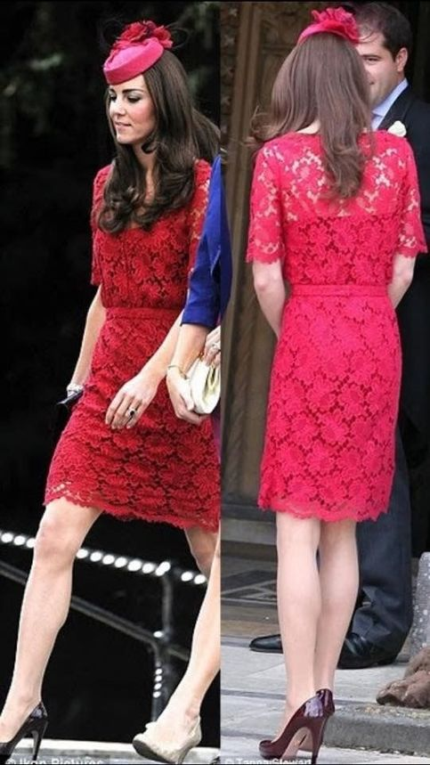 Inspired by Kate Middleton Red Celebrity Dresses Sheath