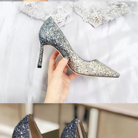 Sparkly Crystal Silver Blue Gradient High Heels Wedding