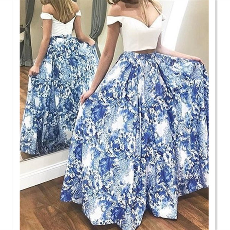 united states available offer discounts two piece blue floral long prom dresses,elegant off the shoulder a ...