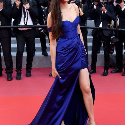 3bcd38805c8 Inspired by dinara baktybaeva celebrity dresses royal blue sheath off the  shoulder side slit prom dresses
