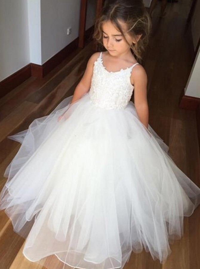 c812073c4d1 Ball Gown Spaghetti Straps Ivory Tulle Flower Girl Dress with ...