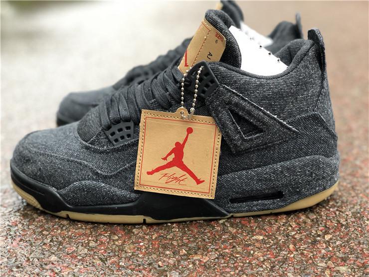 63bec25551aca ... Nike Air Jordan 4 Retro Levi's Black Basketball shoes AO2571-001 -  Thumbnail 4