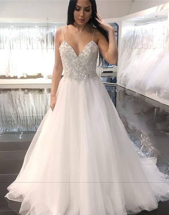 Spaghetti Straps V Neck Wedding Dress With Rhinestone Wedding Online Store Powered By Storenvy