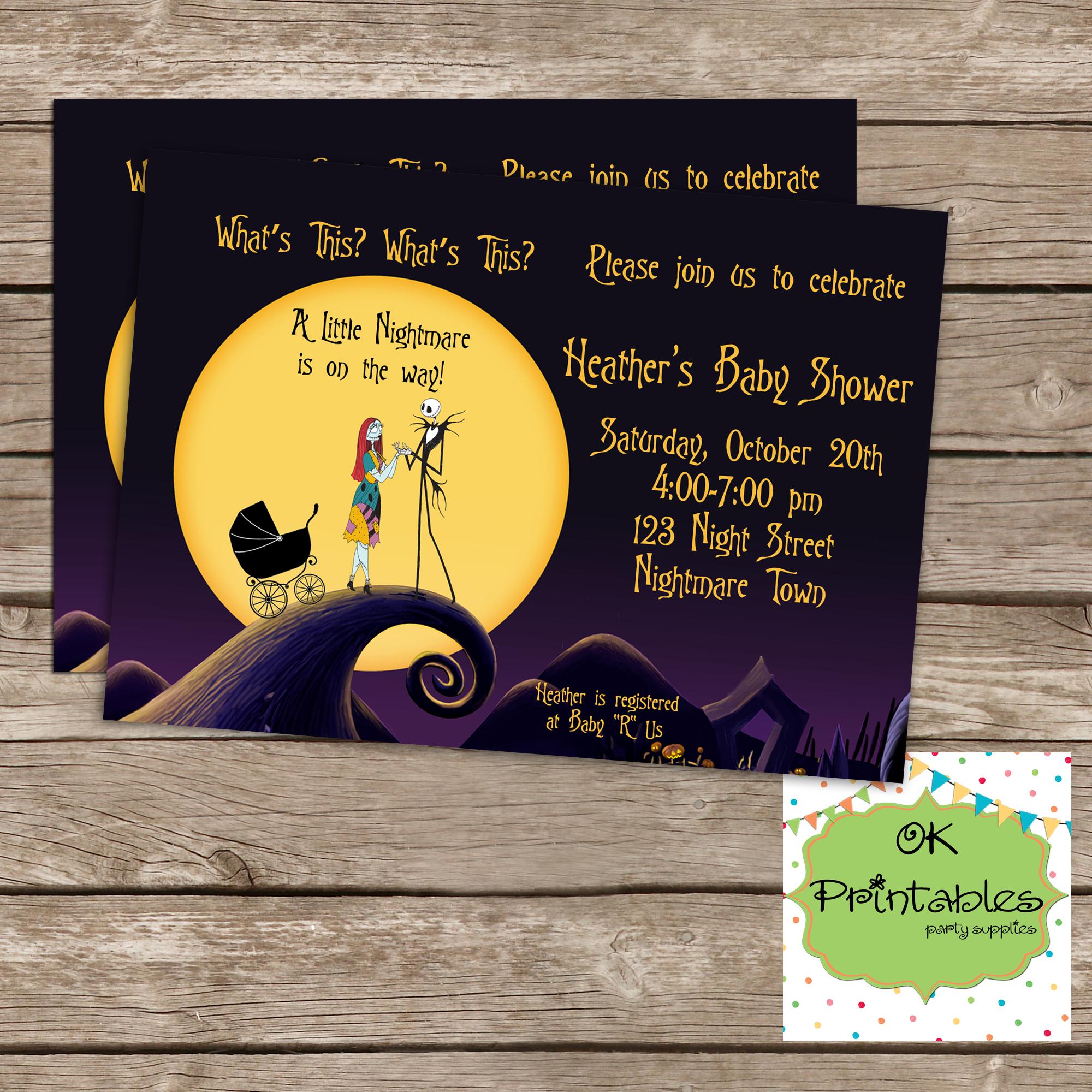 Nightmare before christmas Baby boy or girl Shower Invitation, Digital  file, printable. 5x7
