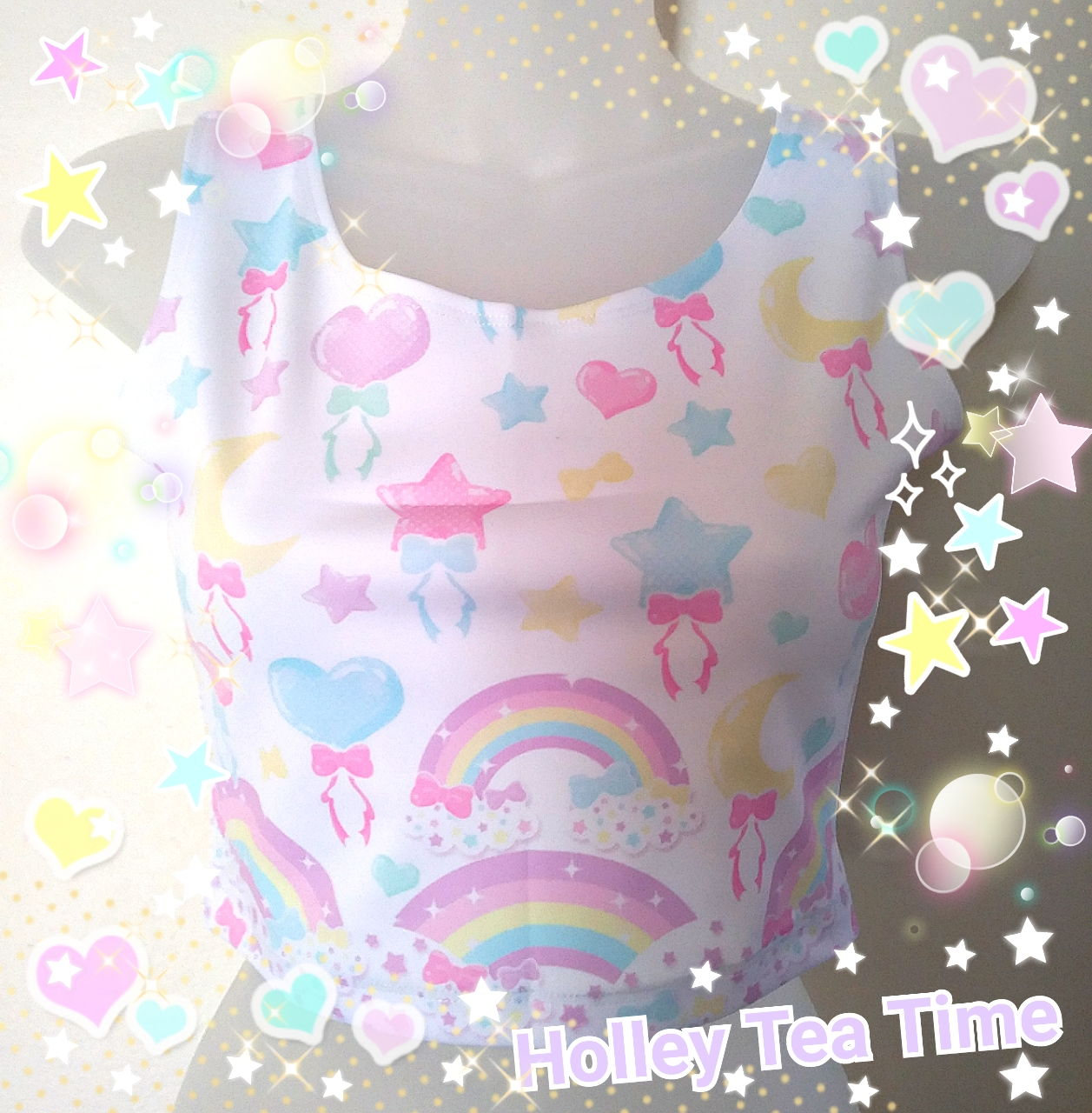 bf4b57d335d69 Pastel party white Crop Top MADE TO ORDER fairy kei
