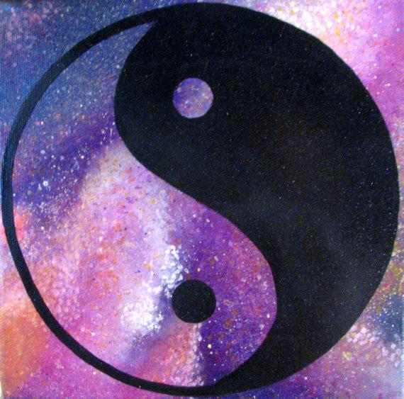 pink galaxy yin yang painting original one of a kind acrylic art