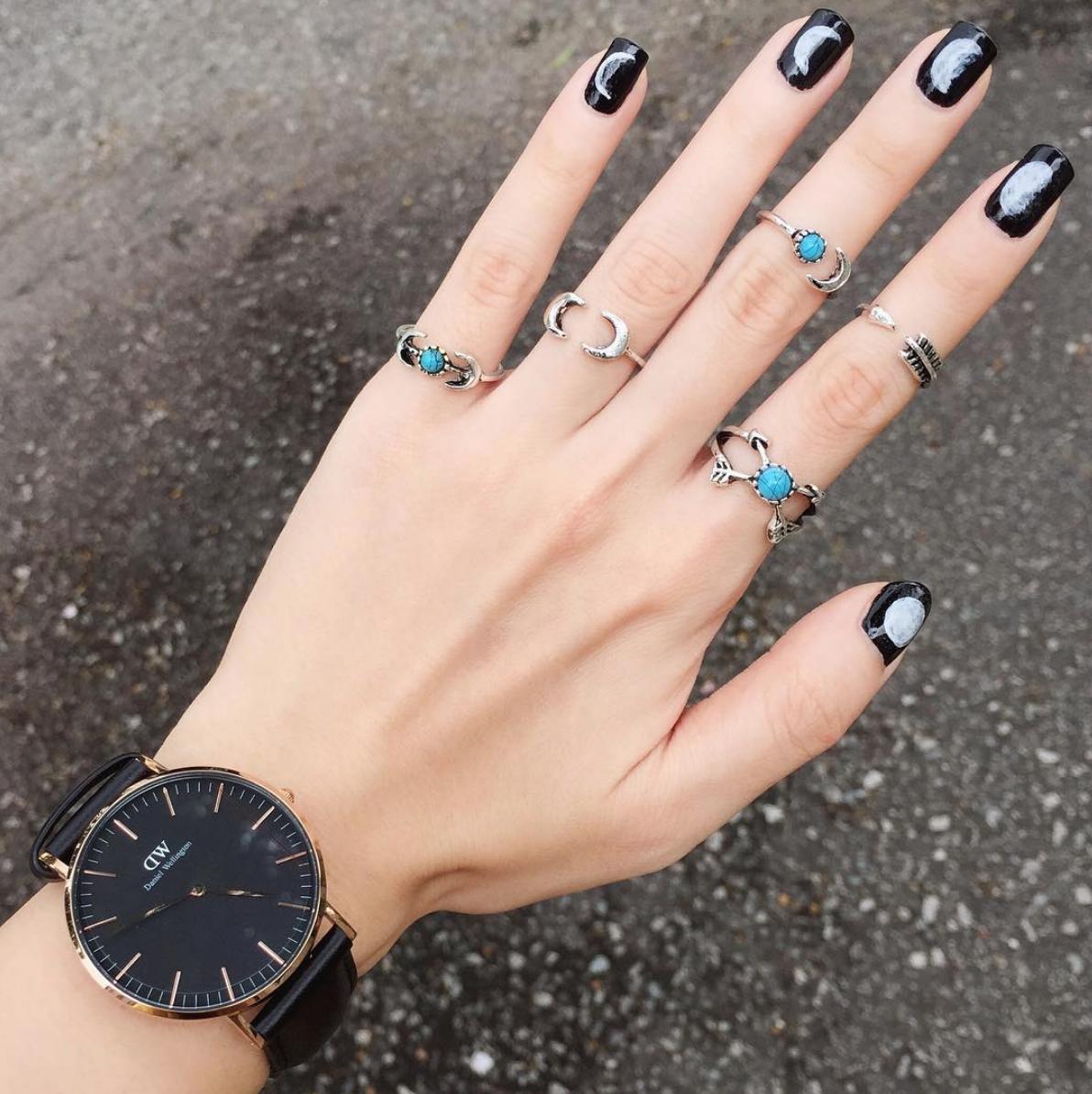 Boho Moon & Arrow Ring Set (Silver/Turquoise) from Megoosta Fashion