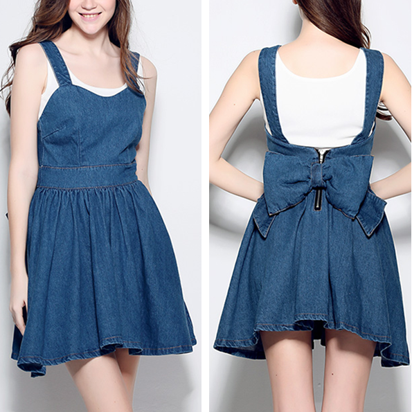 f9128790388 New fashion cute bow high waist denim strap dress · Harajuku fashion ...