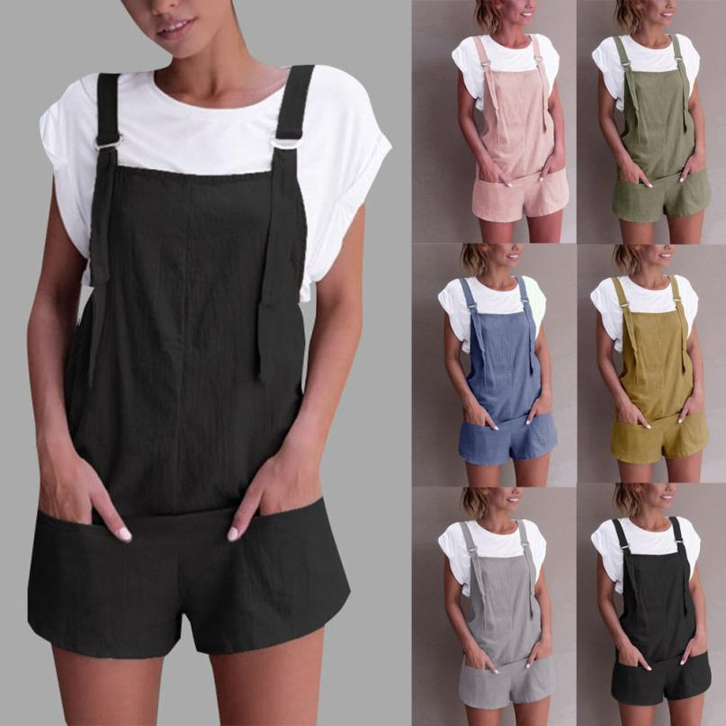 32d897e76d50 2018 summer womens romper Loose Dungarees rompers Loose Rompers ...