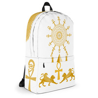 White and Gold Sacred Geometry Egyptian Ankh Cross Backpack Kemetic  Spirituality from Alkebulan Dynasty Co