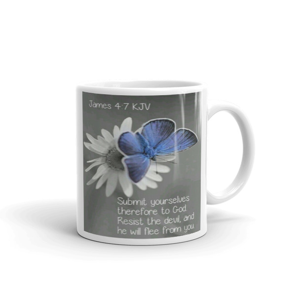James 4:7, Resist the devil,and he will flee mug from Halleluyah Mugs