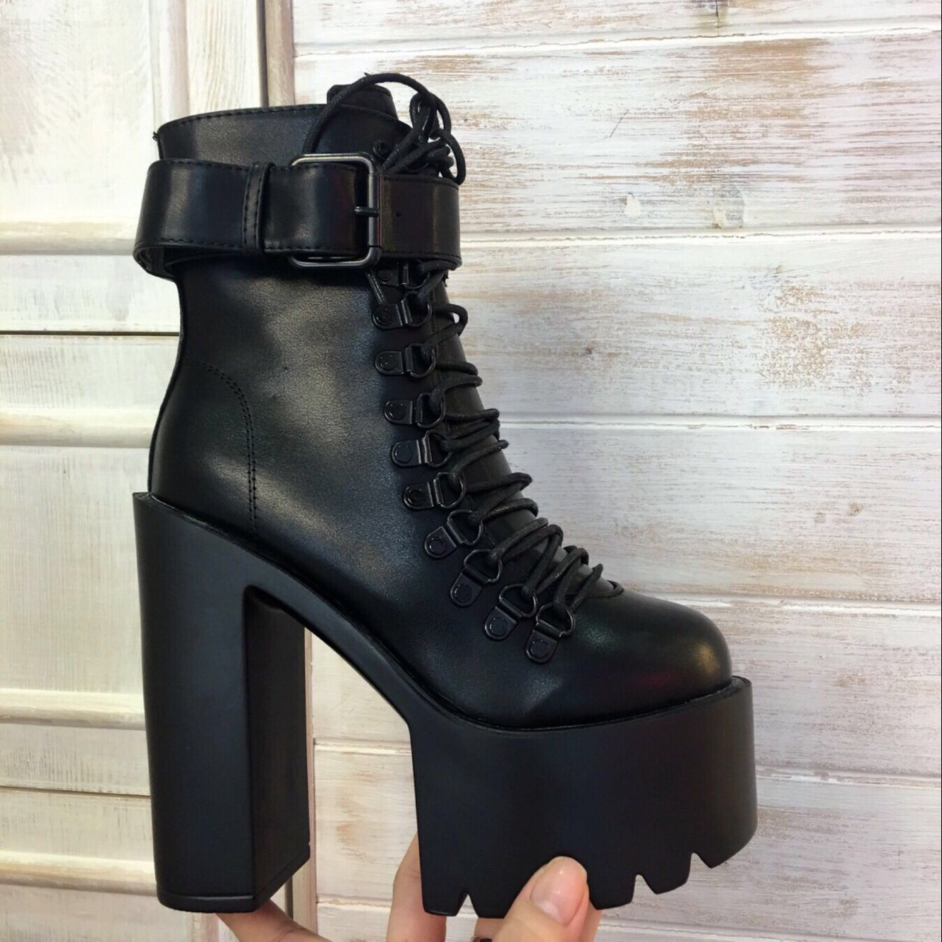 Black Square Heels Platform Boots Ankle Boots Female Lace Up Women Shoes  Fashion from Eoooh❣❣