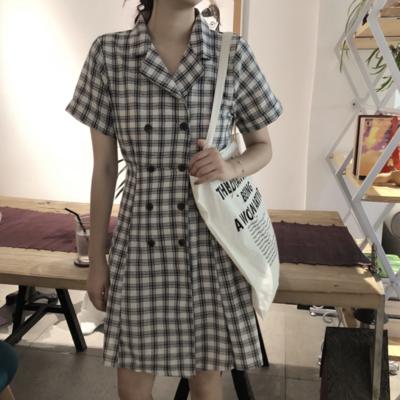 3a7b59a78a V-neck checkered dress