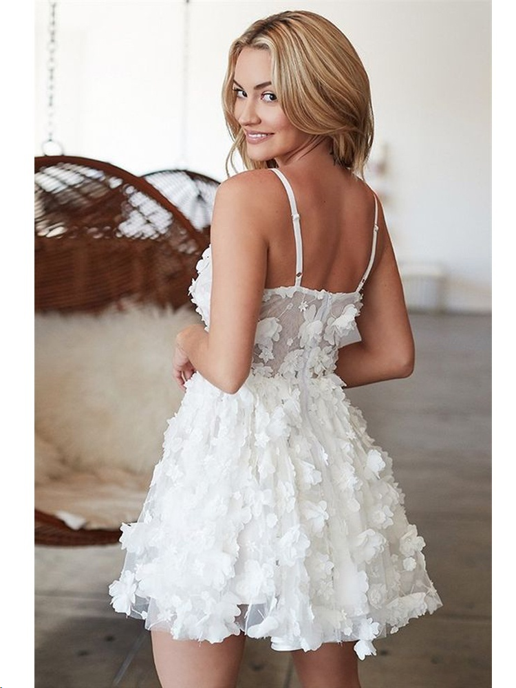 2d7730b935a A-Line V Neck White Spaghetti Straps Tulle Homecoming Dress with Appliques  AD02 from Adeledresses