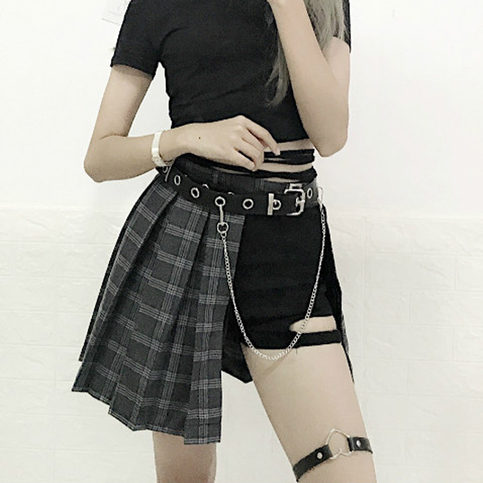 Harajuku Punk Style Plaid Irregular Skirts Women