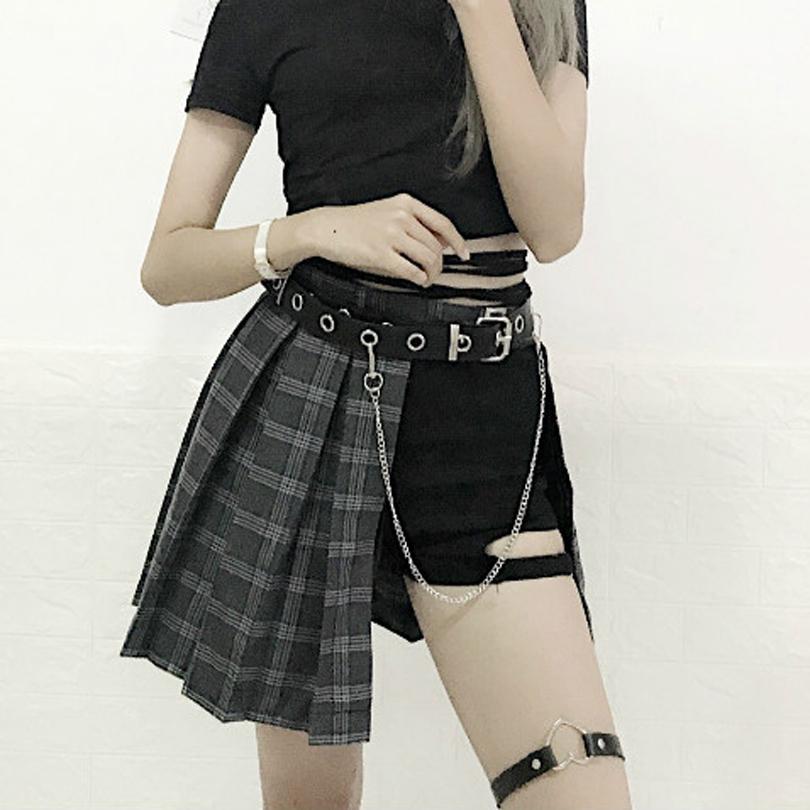 666ef0de28 Harajuku Punk Style Plaid Irregular Skirts Women Asymmetrical High Waist  Skirts Pleated Girls Gothic Half Skirts Fashion Skirt on Storenvy