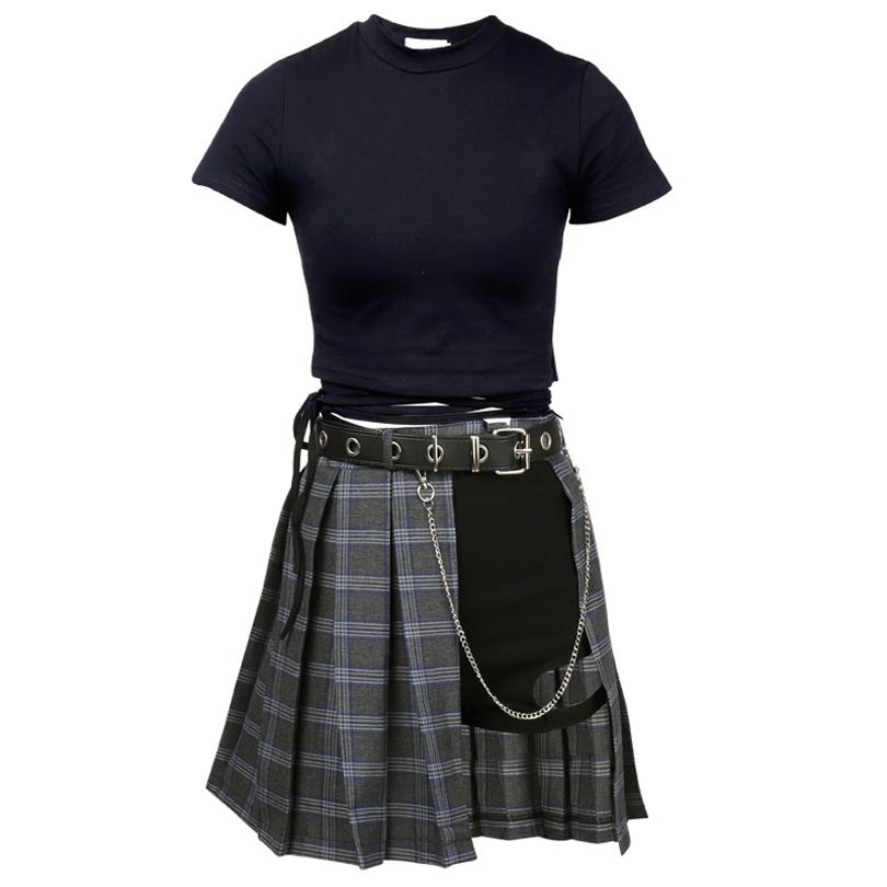 74c231e455 Harajuku Punk Style Plaid Irregular Skirts Women Asymmetrical High ...