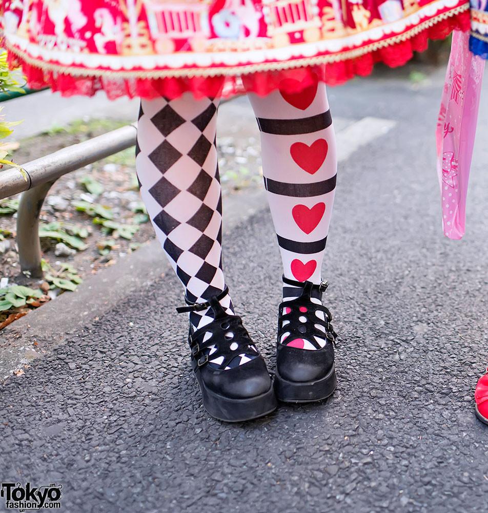 e05dae4dc80 black white diamond checkered red heart print nylon over the knee thigh  high long socks kawaii ...