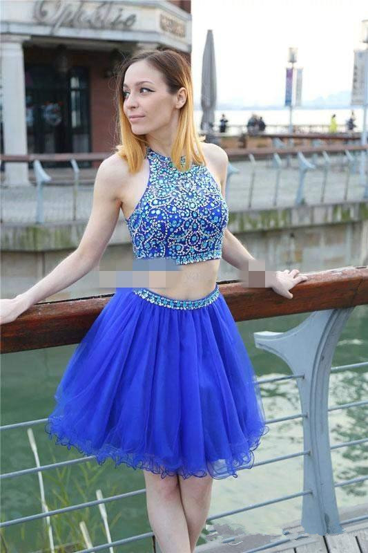 31902c16fa ... 2 Pieces Royal Blue Homecoming Dresses Open Back Short Beaded Prom  Dress Hoco Party Dress -