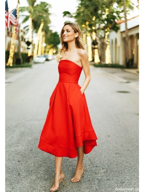 Classic Red Homecoming Dresses Strapless Tea Length