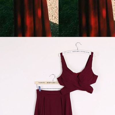 ef4d69d59ff Gorgeous burgundy red 2 pieces prom dresses long sexy evening gowns chiffon  two piece formal dress