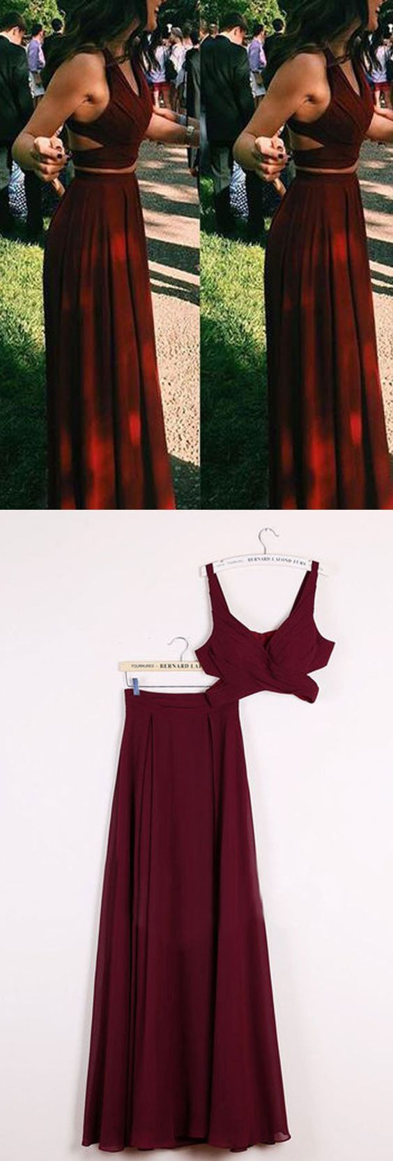 c7d8ea987cc Gorgeous Burgundy Red 2 pieces Prom Dresses Long Sexy Evening Gowns Chiffon  Two Piece Formal Dress