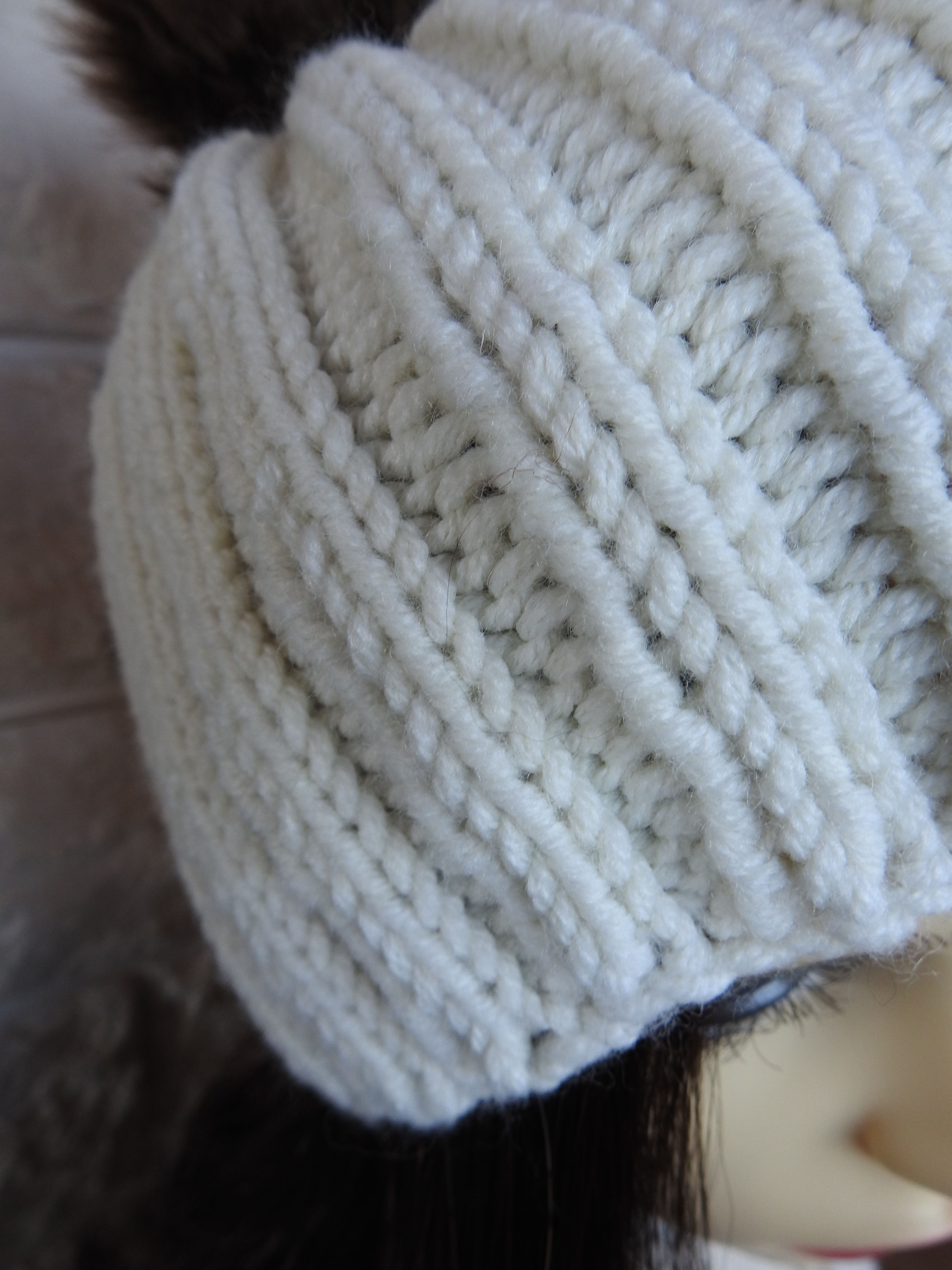 0d620cb79ff09 Knitted Women s Cream Winter Hat With A Brown Pompom - FREE SHIPPING -  Thumbnail ...