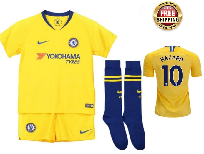 new concept aca5e e3dfc 2018-2019 Kids Young Hazard #10 Chelsea Jersey Away Shirt Yellow from  JeisyShop