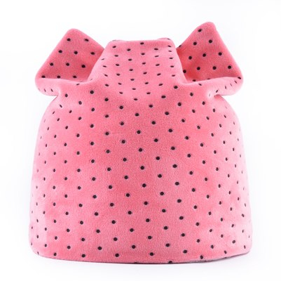 9620d0c1288 Winter Beanies Women Dots Velvet Hat Autumn Cute Cat Bonnet With Ear ...