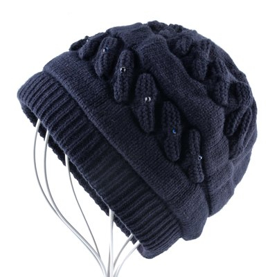 Warm knitted beanie with rhinestones winter double lining hat for women  fashion knitting plait color skullies ed4e1aa4d8d7