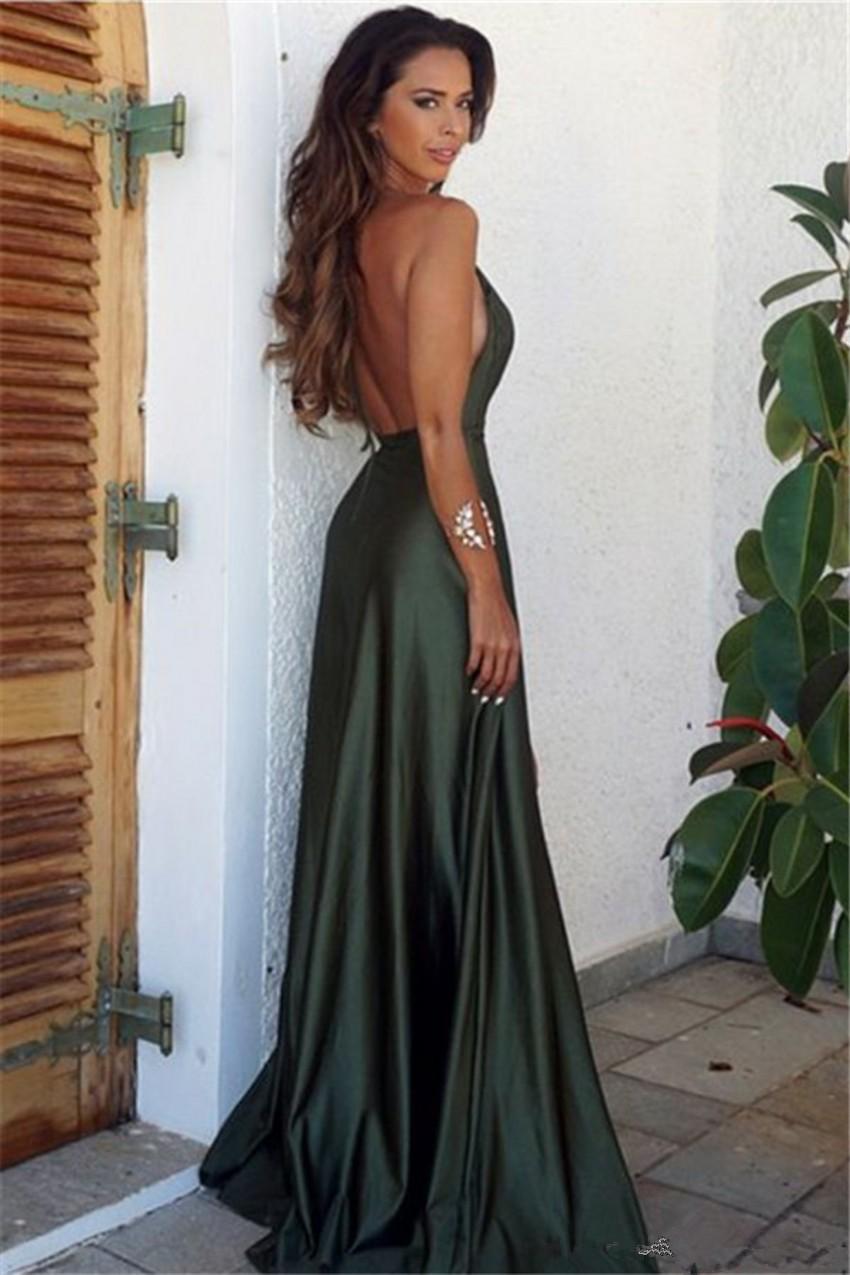 f94bb17489a Cheap Olive Green Backless Split Elegant Simple Prom Party Dress V-Neck  Long Floor Length
