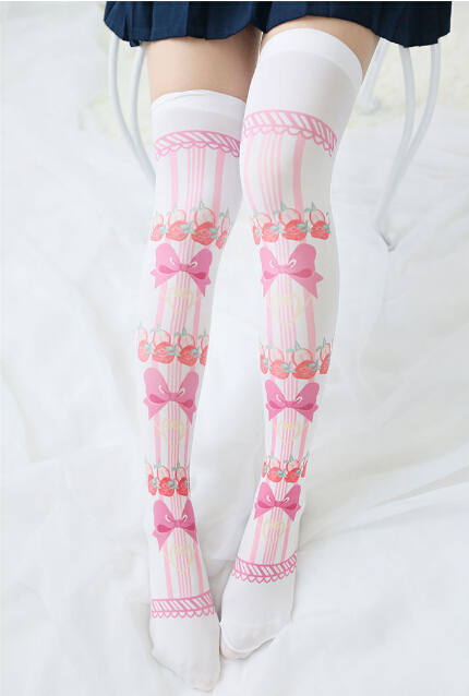 0a5fa0949dced8 Lolita Strawberry Bow Knee Thigh High Socks Stockings on Storenvy